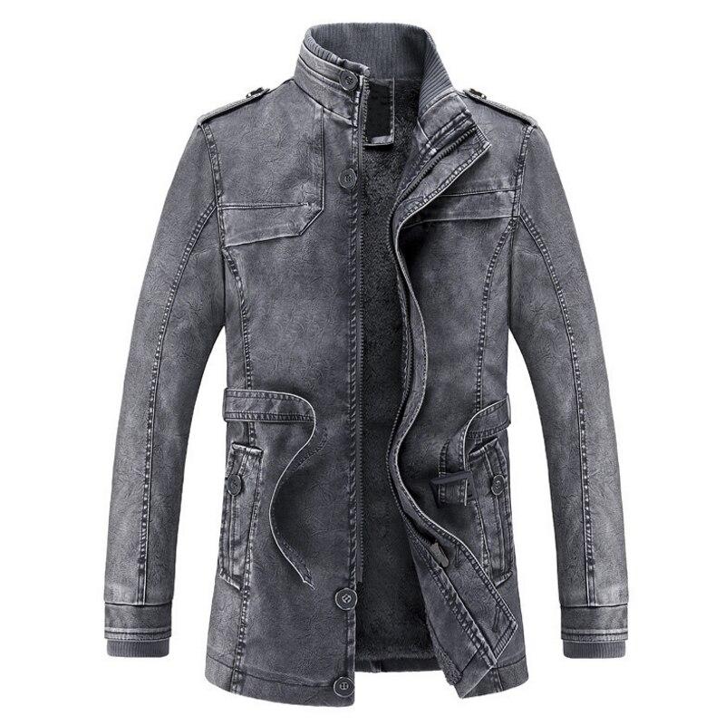 2017 Jacket <font><b>men</b></font> <font><b>Slim</b></font> Warm <font><b>mens</b></font> washed Leather Motorcycle Biker Jackets Standing Collar Coat jaqueta masculina Plus size XXXL
