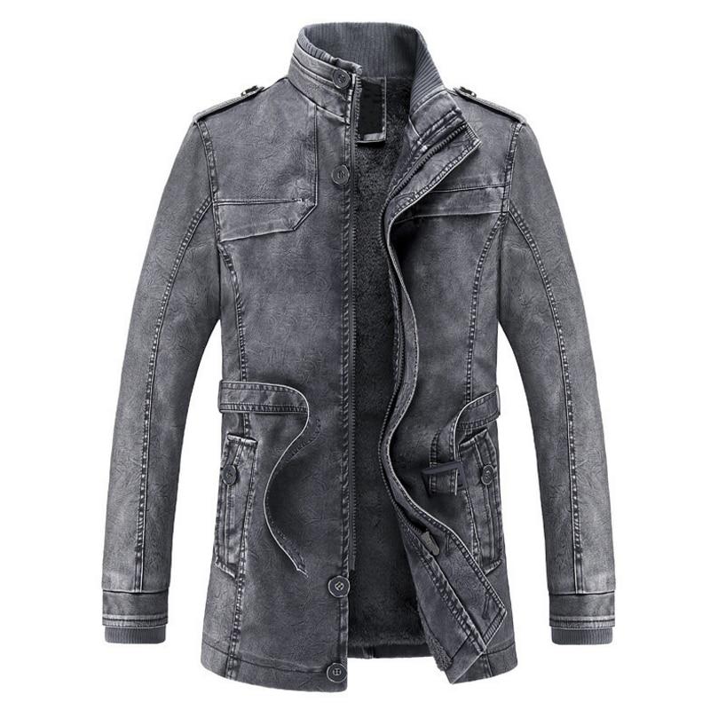 2017 Jacket men Slim Warm mens washed <font><b>Leather</b></font> Motorcycle Biker Jackets Standing Collar Coat jaqueta masculina Plus size XXXL
