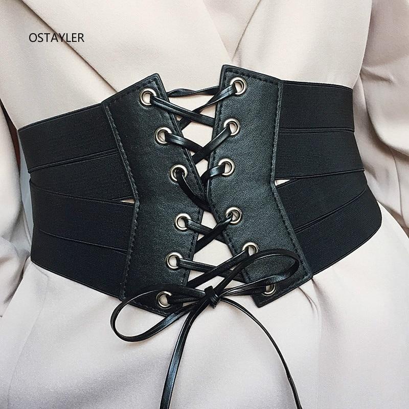 Black High Waist Elastic Wide Dress Belt Women Vintage Bandage Faux Leather Elastic Corset Zipper Belt Front Tie Up Waist Belt