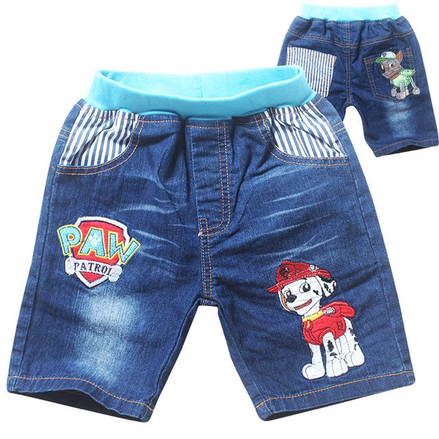2016 verão Novo estilo dos desenhos animados patrulha calças Jeans meninos meninas crianças calças de brim calças curtas Crianças Calças roupas Frete grátis