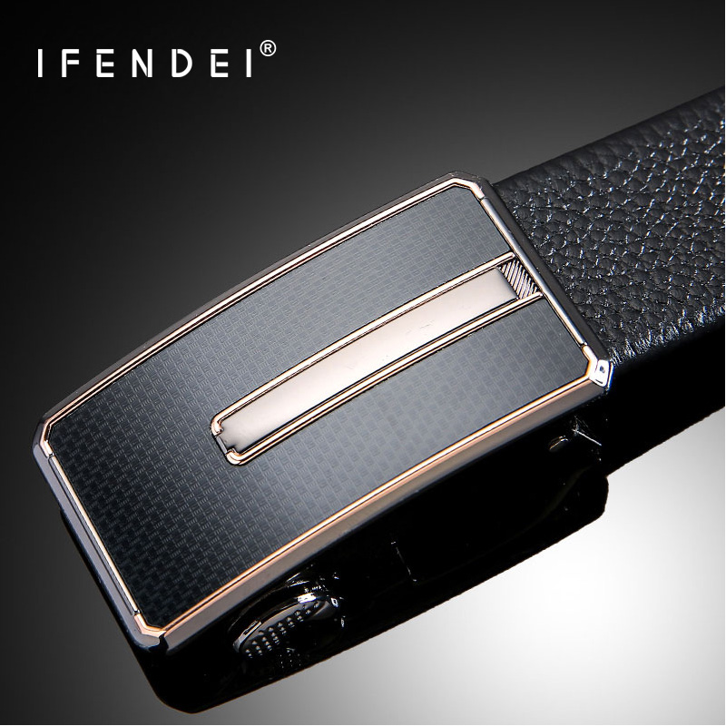 IFENDEI Hidden Pocket Money Belt Sekretess 100% Cowhide Leather Belts Män Luxury Fashion Automatisk Spänne Zipper Belter Ceinture