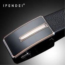 IFENDEI Hidden Pocket Money Belt Ceinture Secrete First Layer Of Cowhide Automatic Buckle Belts Zipper Anti-theft Leather