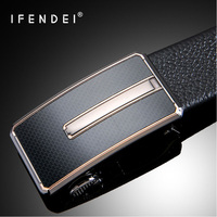 IFENDEI Hidden Pocket Money Belt Secrete 100% Cowhide Leather Belts Men Luxury Fashion Automatic Buckle Zipper Belts Ceinture