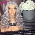 8А Класс Малайзии полный шнурок человеческих волос парики серебристо-серый волос малайзийские волосы объемная волна парик фронта шнурка парики человеческих волос серый парики