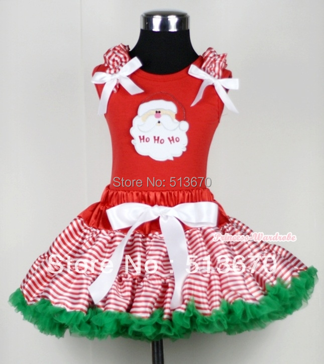 XMAS Red White Streak Pettiskirt Red Top Ruffle Bow with Santa Claus Set 1-8Year MACM114 my 1st christmas rwg lighting red top xmas dot waist girl pettiskirt set 1 8year