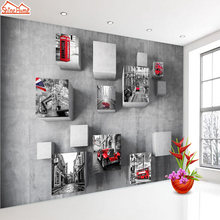 ShineHome-Modern Large Custom Retro Photo Frame Wallpaper for Wall 3 d Livingroom European London City Wallpapers Murals Roll(China)