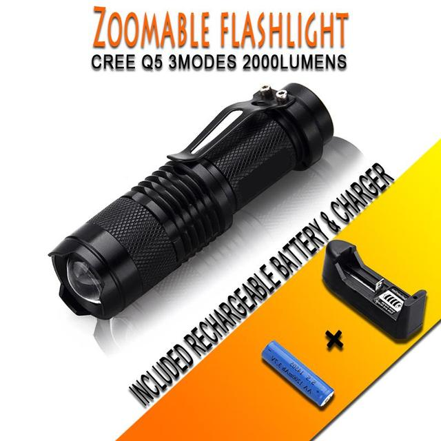 High-quality Mini Black CREE 2000LM Waterproof LED Flashlight 3 Modes Zoomable LED Torch + 14500 3.6V Battery+Battery Charger
