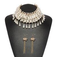Holylove Elegant Multi Layer Imitation Pearl Beads Tassels Pendant Choker Necklace Plus Dangle Earrings Women Bridal