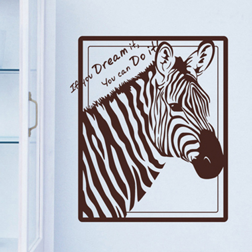2015 African Animal Vinyl Wall Decal Zebra Head Mural Art Wall Sticker Bar Home Decoration Living Room Bedroom Sticker