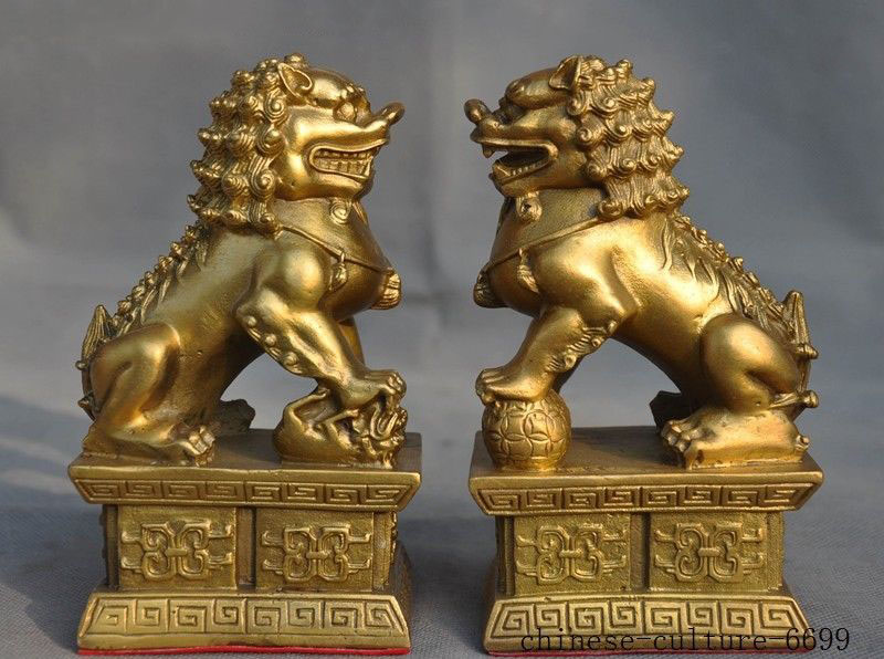 Christmas 6 old Chinese Feng Shui brass auspicious wealth foo dog lion beast statue pair HalloweenChristmas 6 old Chinese Feng Shui brass auspicious wealth foo dog lion beast statue pair Halloween