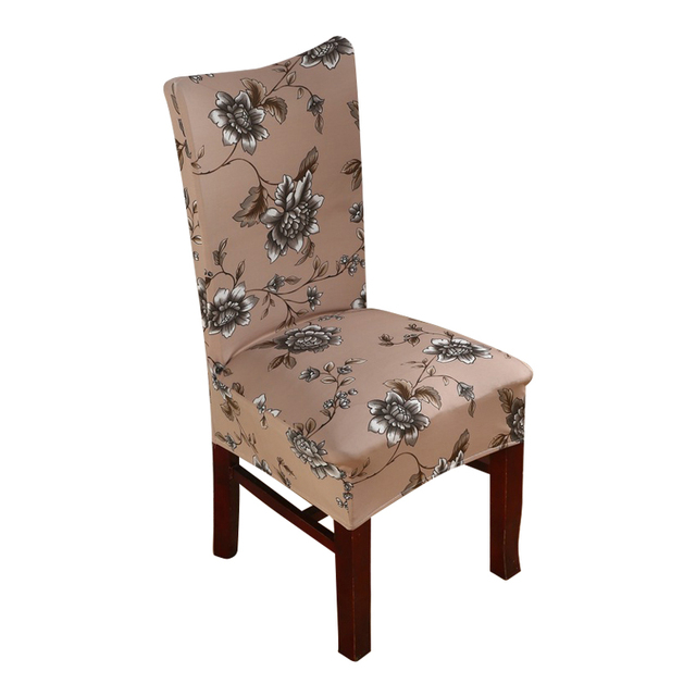 Brown Flower Chair Covers Cheap Jacquard Stretch Chair Covers For Dining  Room Decoration Short Half Machine