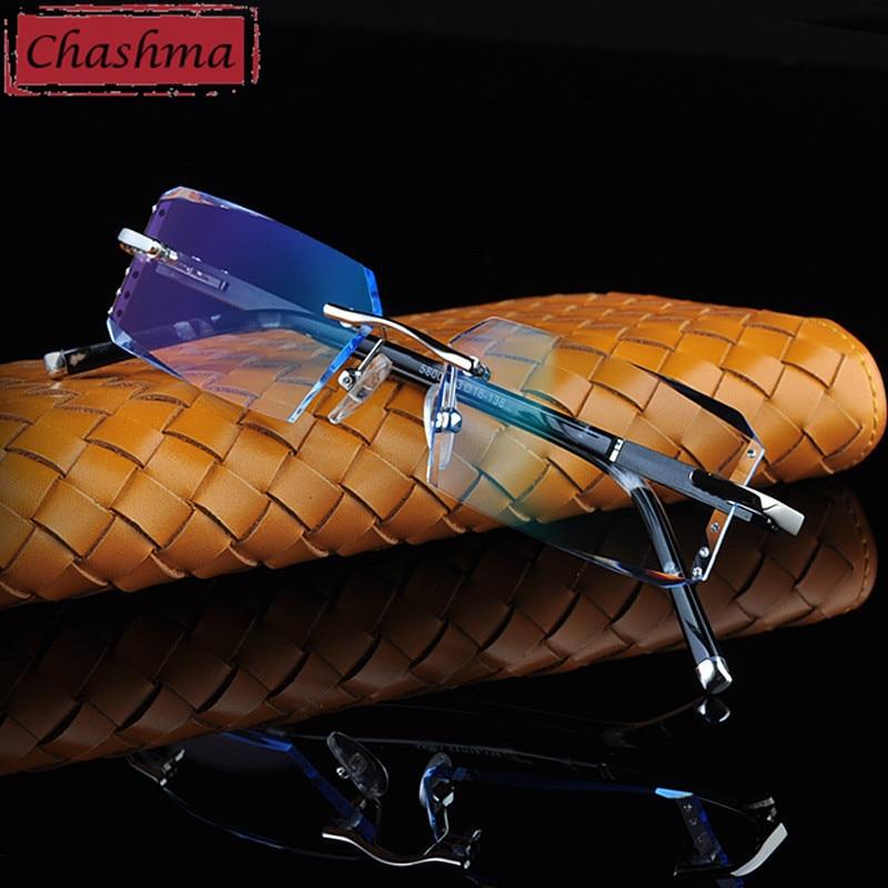 Chashma Luxury Tint Lenses Myopia and Reading Glasses Diamond Cutting Rimless Prescription Glasses for Man