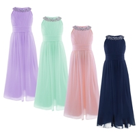4 Colors Toddler Girl Chiffon Long Dress Sleeveless Flower Girl Dress High Quality Princess Girls Birthday