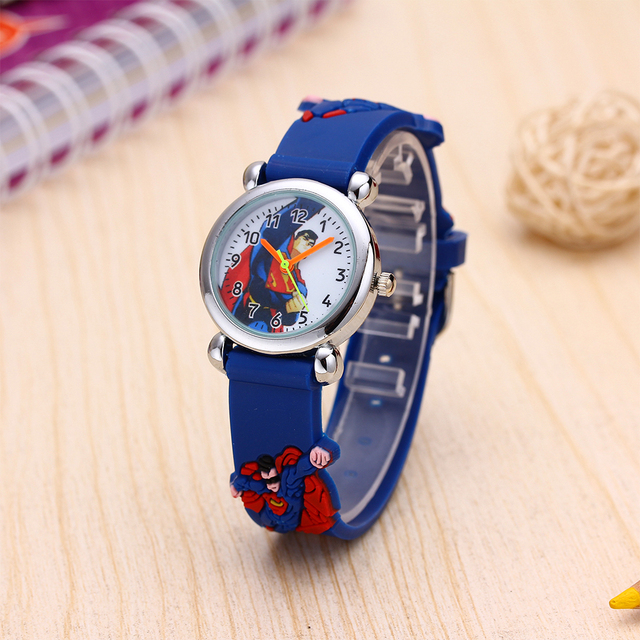 Cute Superman Children Watch Kids Watches 3D Pattern Silicone Strap Boys Girls Q