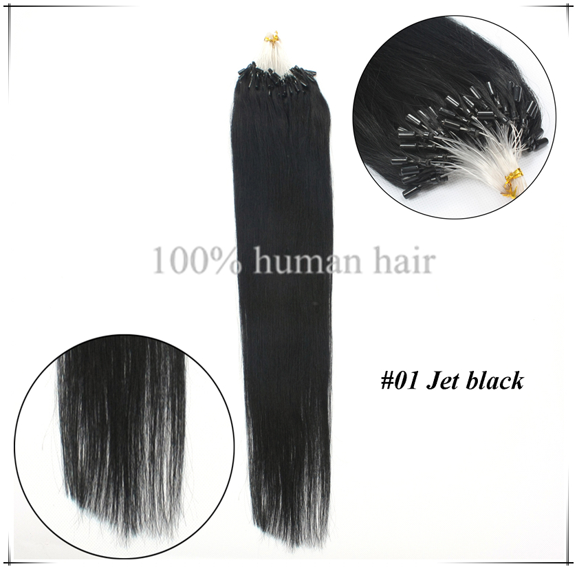 Permanent Hair Extensions Straight Human Loops Hair Weaves 22inch
