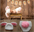 Free shipping, Baby Infant Knitted Clothing Rabbit Hat with Diaper Cover baby sets 0-3 Month Newborn Photography Baby Caps