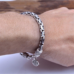 Image 1 - GAGAFEEL Genuine 100% Real Pure 925 Sterling Silver Men bracelets Dragon Head Vintage Thai Silver Men jewelry Fine jewelries