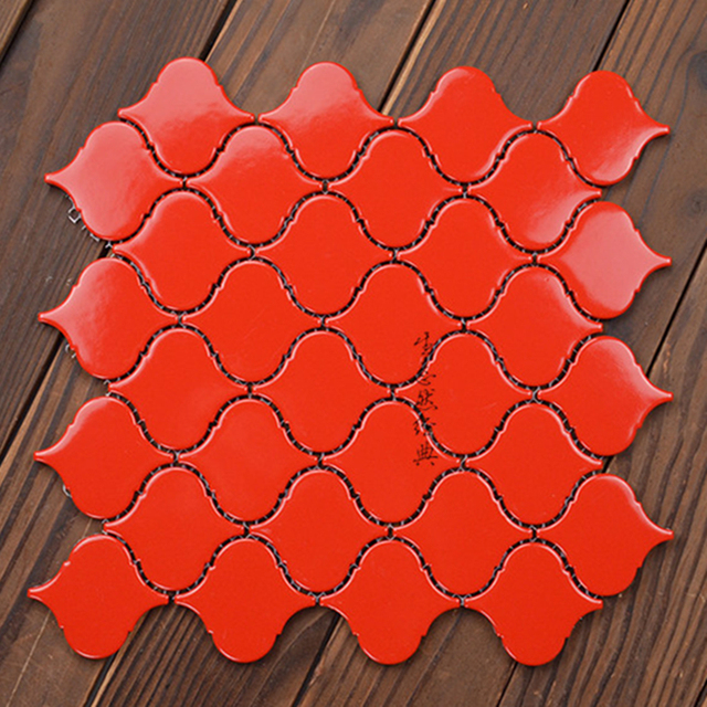 China Red Ceramic Mosaic Tiles For Restaurant Bar Bathroom Showewall