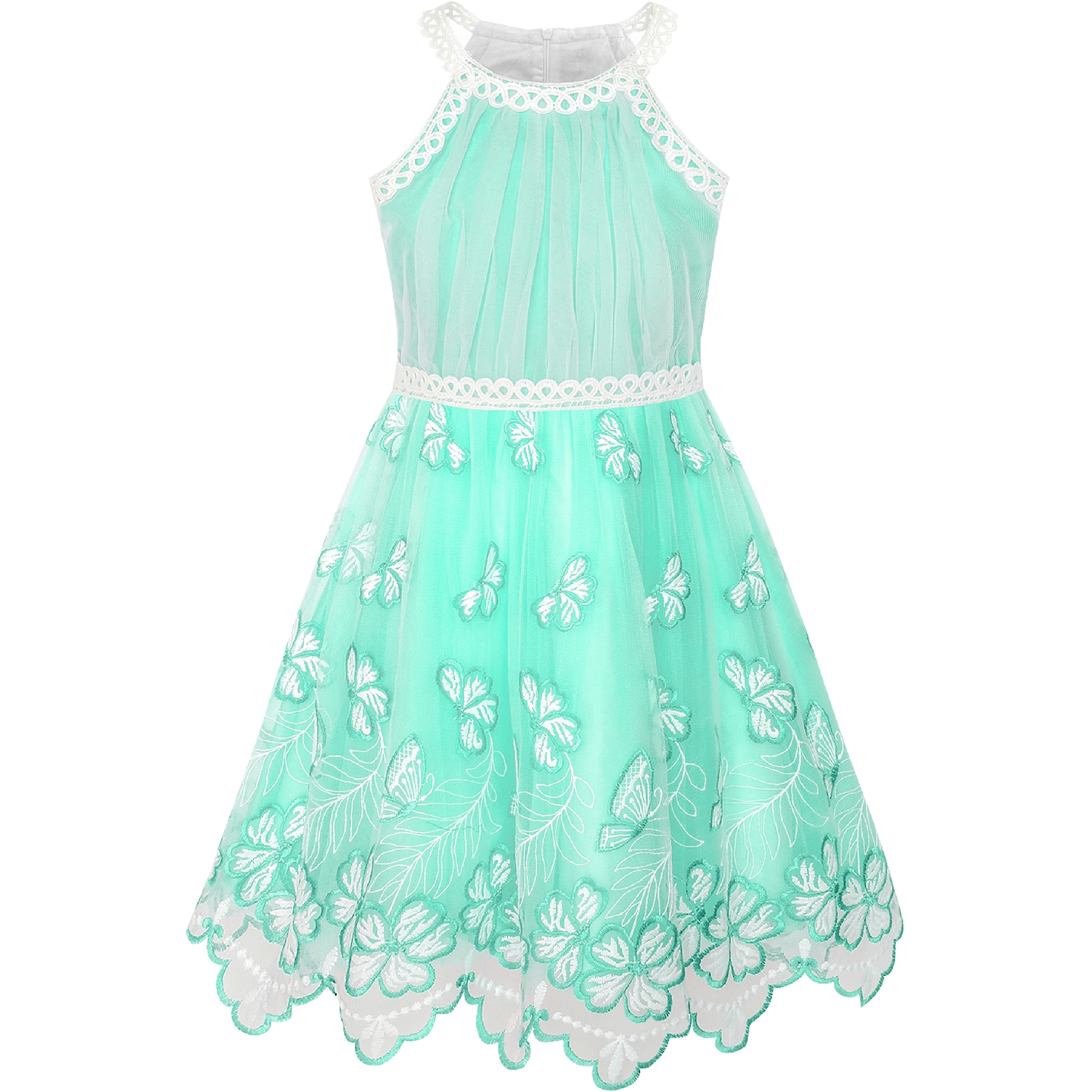 Girls Dress Turquoise Butterfly Embroidered Halter Dress Party 2019 Summer Princess Wedding Dresses Children Clothes Pageant