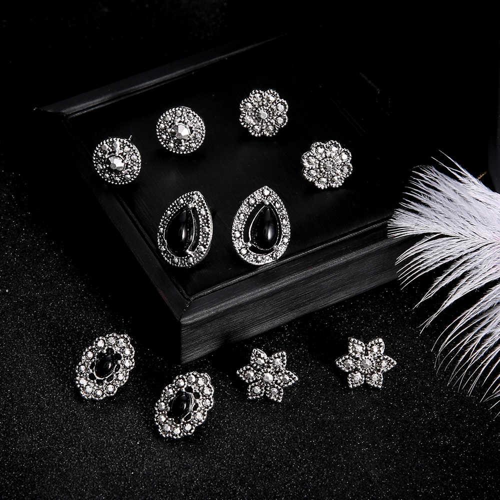 5 paare/satz Böhmischen Kristall Stud Ohrringe Set für Frauen Vintage Mond Sterne Herz Blume Ohrring Erklärung Schmuck Neue Mode