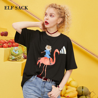 ELF SACK 2019 Spring New Oversized Tshirts Woman Cotton Casual O Neck Ladies T shirt Loose Print Streetwear Femme Tees Tops
