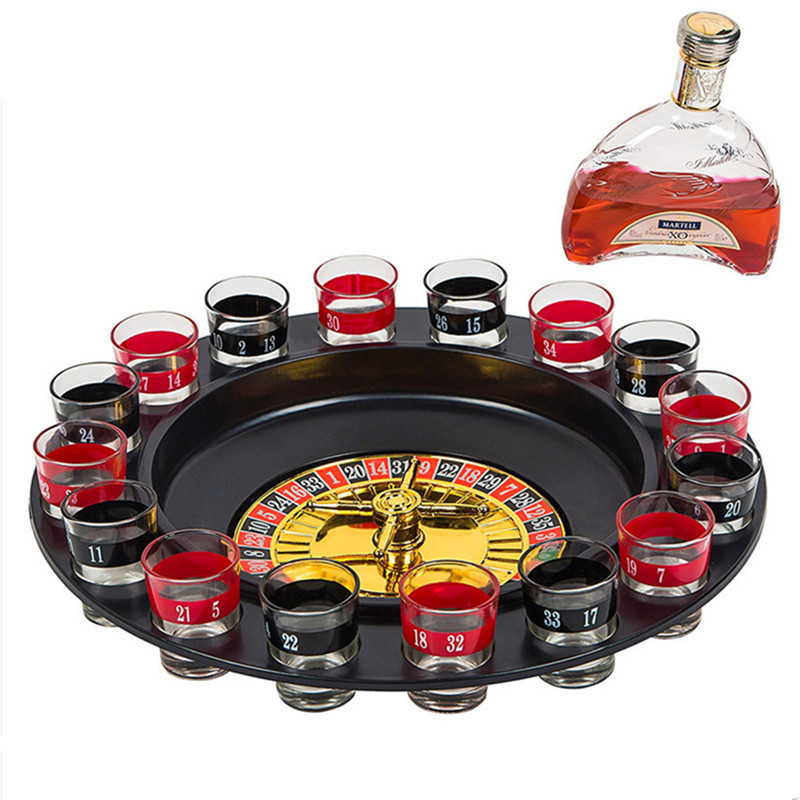 Wine Glass Russian Roulette 16 Cups Roulette Wheel Game Turntable Liquor Drinking Alcohol Drinkware Set Licor Crazy Playing