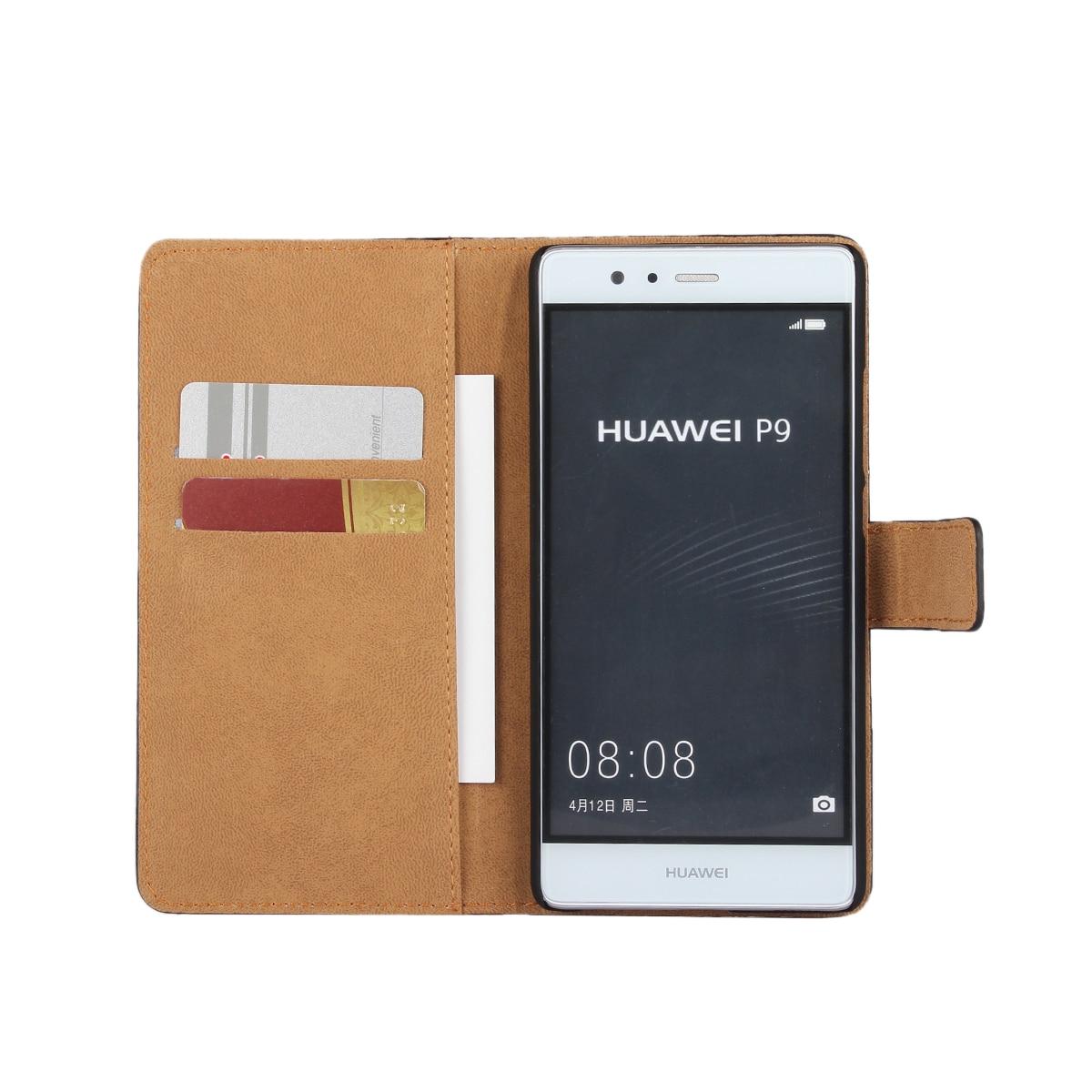 Väska till Huawei P9 täcka Premium PU-läderplånbok Väska Flip - Reservdelar och tillbehör för mobiltelefoner - Foto 3