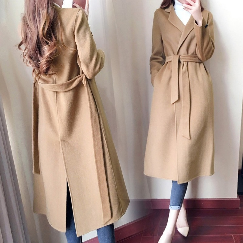 U-SWEAR Casual Autumn Winter Wool Blend Elegant Coat Fashion New Lapel Long Sleeve With Solid Color Women's Clothing Vadim