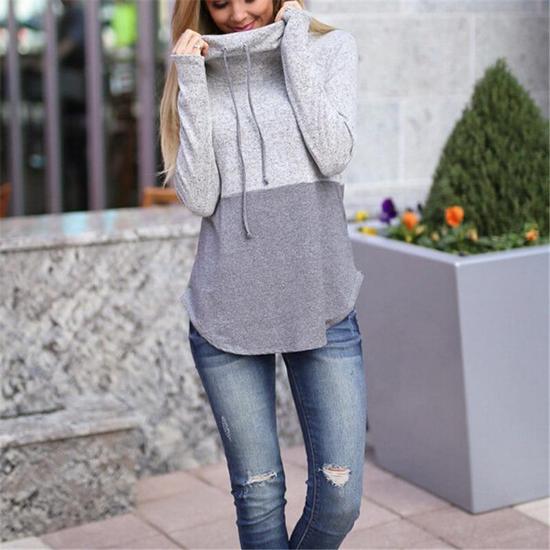 Women's Autumn Winter Hoodie Sweatshirt Long Sleeve Color Patchwork Jumper Pullover Tops Coat Fashion Ladies Casual Sweatshirts