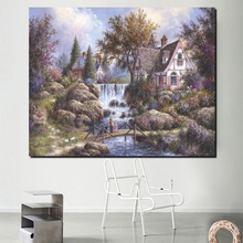цена на Thomas Kinkade Landscape Painting Canvas Painting Prints Living Room Home Decoration Modern Wall Art Oil Painting Poster Picture