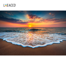 Laeacco Tropical Backdrops Sea Beach Sand Waves Cloudy Sunrise Natural View Photography Backgrounds Photocall Photo Studio Shoot