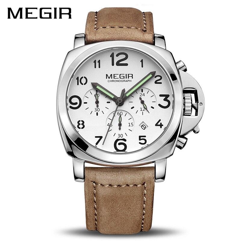 MEGIR Clock Men Top Brand Luxury Quartz Men Watch Big Dial Chronograph Military Watches Luminous Relogio