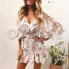 купить CUERLY Vintage bohemian floral print women dress Sexy hollow out ruffled v-neck summer dress A-line high waist short mini dress по цене 2265.26 рублей