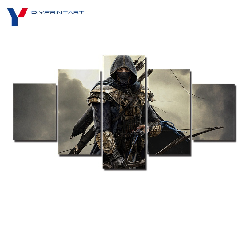 Archer the Elder Scrolls Online 5 Panel Wall Canvas Painting Game Poster Paintings for Home Decoration Living Room A0707
