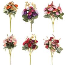 21 Heads Bouquet Silk Rose Artificial Flowers Bouquet Fake Flowers for Home Wedding Party Decoration Indoor Flowers