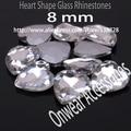 330 unids/lote 8 mm Crystal Clear Point volver forma de corazón cristal cristal de lujo Rivoli piedra para la fabricación de joyas