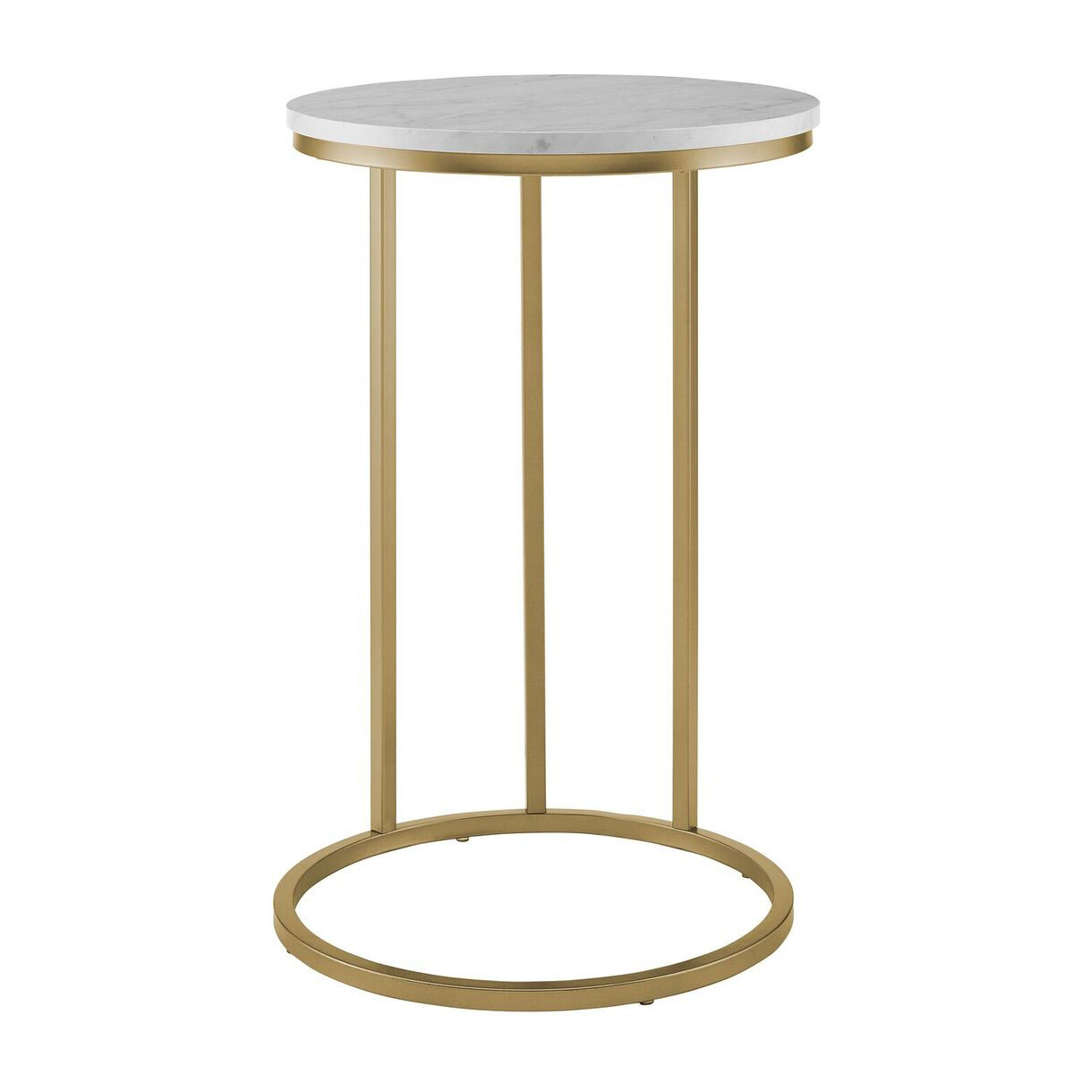 We Furniture 16 Round C Table White Marble Top Gold Base 2