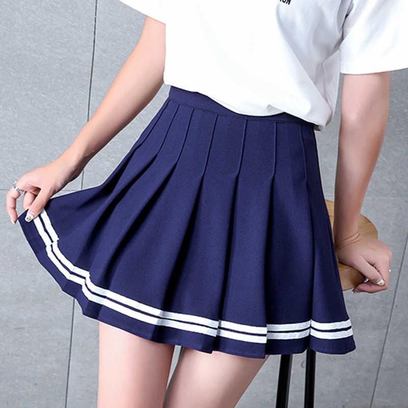 Meninas uma treliça vestido curto de cintura alta saia de tênis plissado uniforme com calções internos cuecas para badminton cheerleader