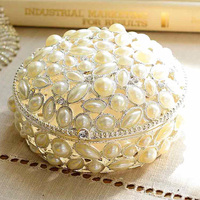 Brand Group C Wedding Gift Ornaments Home Accessories Meilin Alloy Pearl Jewelry Box Ring J