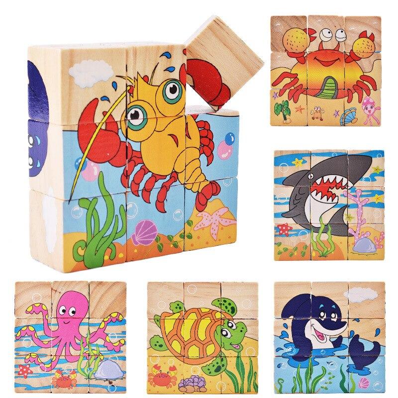 9pcs/set Baby Toys Wooden Cube Block Baby Educational Blocks Animal/Vehicle/Fruit Wooden Blocks Toys For Child Gifts