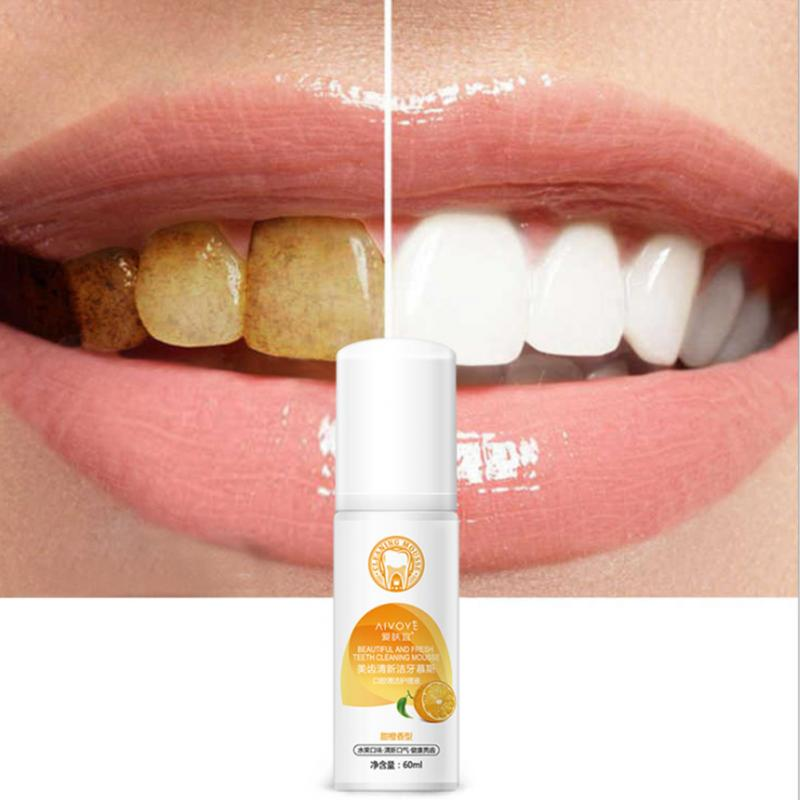 High Quality Teeth Whitening Foam Toothpast Oral Care Remove Stain Dental Bleach Tooth Whiter Orange Scent 60ml