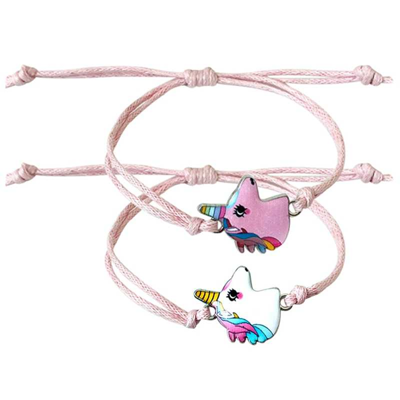 2019 Cute Women Pink Unicorn Charms Bracelets Adjustable Crystal Beads Bracelet for Child Birthday Fashion Jewelry GiftS