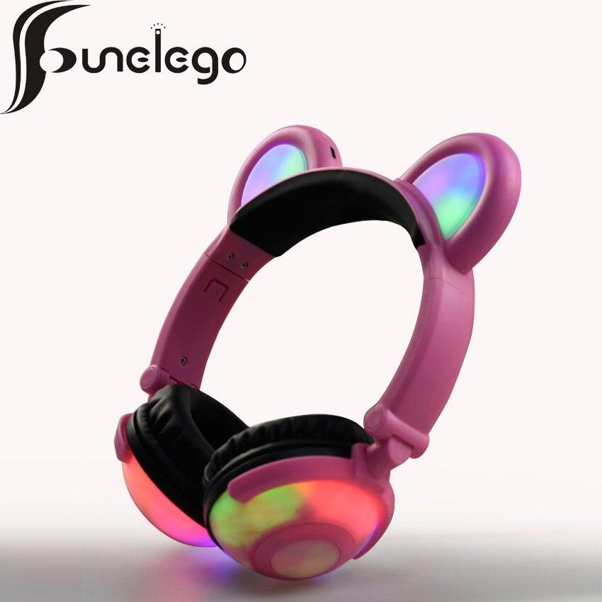 Funelego Wireless Bluetooth Earphone Flashing Glowing Bear Ear Luminous Headphones Gaming Headset with LED lights For PC Laptop