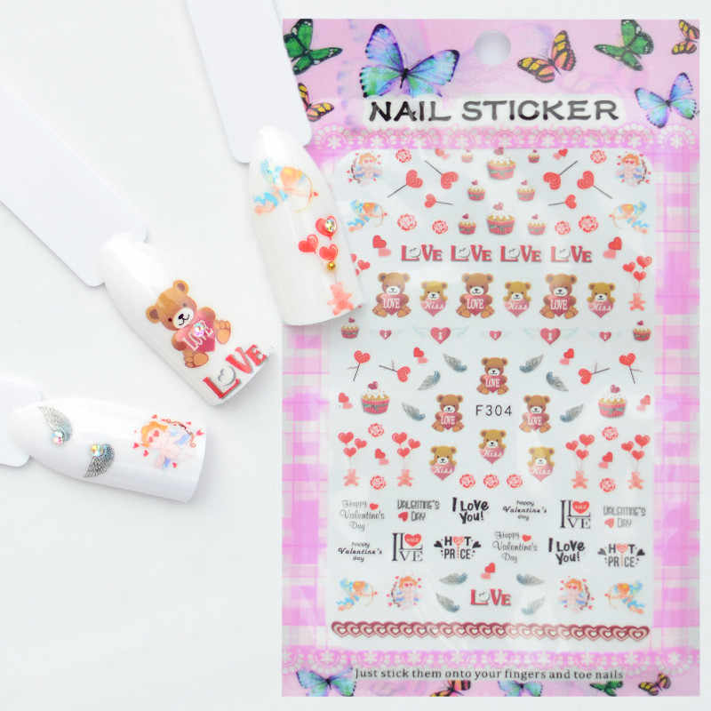 1 лист дизайн ногтей 3D наклейка для ногтей слайдеры Декор медведь цветочный узор наклейка для ногтей красота уход