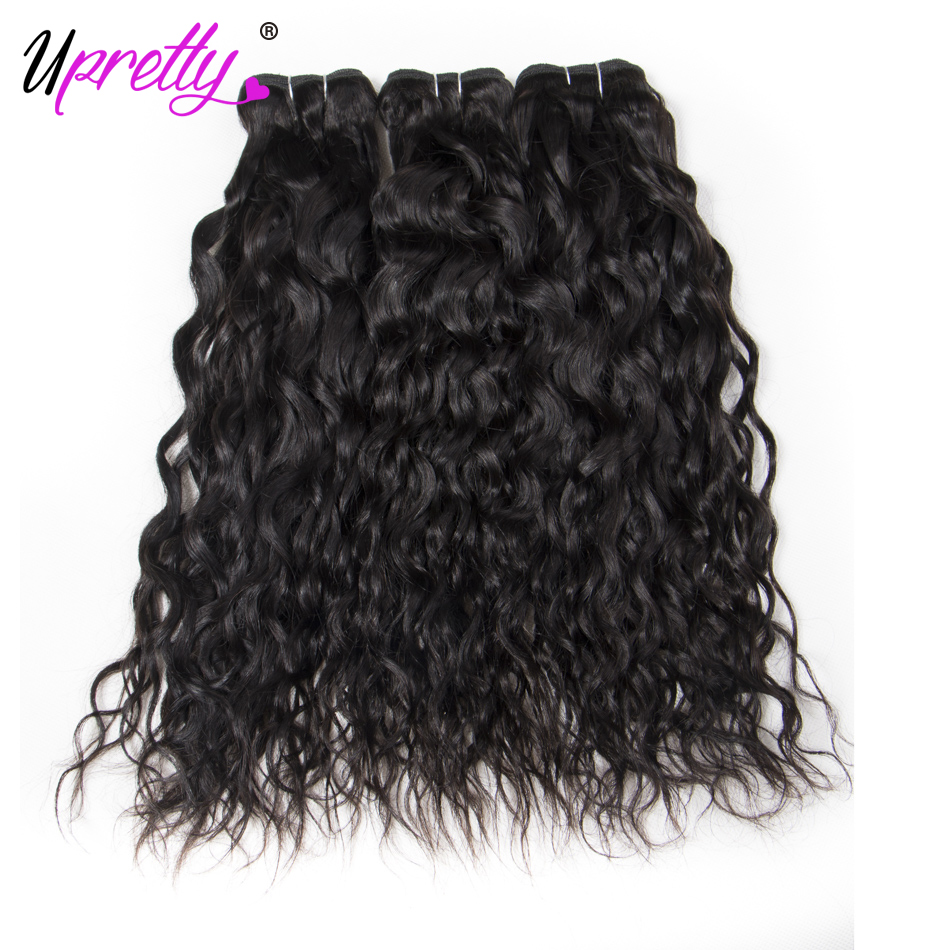 Upretty Hair Brazilian Water Wave 3 Bundles 100% Human Hair Extensions Water Wave Bundle ...