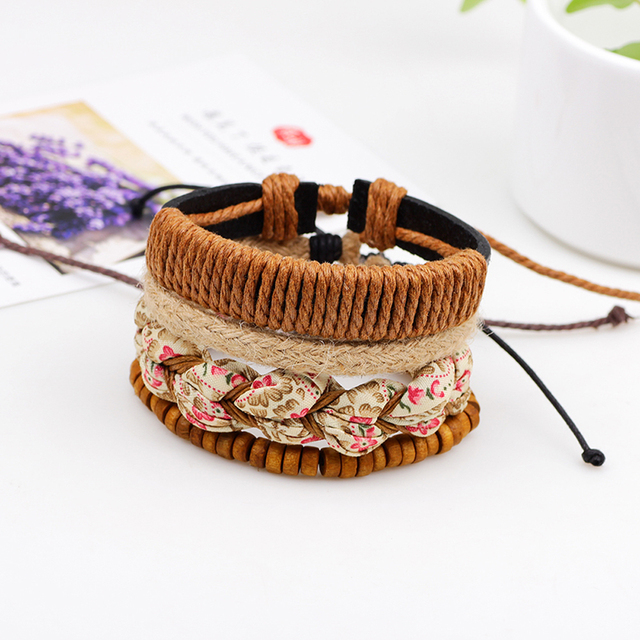 Four Layers Women Bracelet with Wooden Beads, Cloth and Hemp Rope Combination