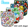 PORORO Brand All In One Breathable Cloth Diaper With 2 Bamboo Boosters Digital Print AIO Reusable