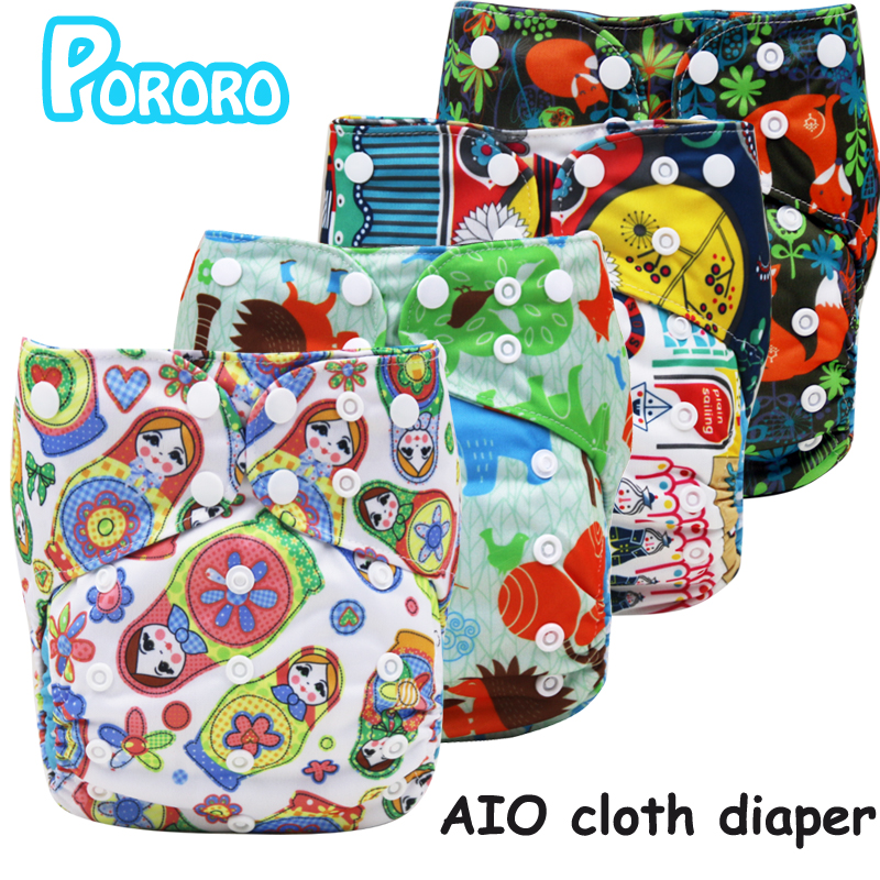 PORORO brand all in one breathable cloth diaper with 2 bamboo boosters, digital print AIO reusable diaper nappies made in china стоимость