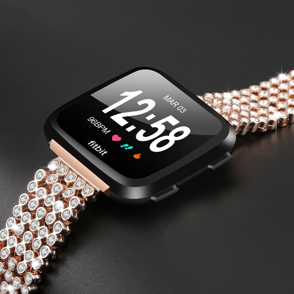 For Fitbit Versa Watch Wrist Bracelet Luxury Crystal Diamond Metal Chain Replacement Watch Band Strap For Fitbit Versa Watchband