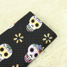 half meter skull print fabric elastic cotton poplin handmade DIY garment dress cloth A632